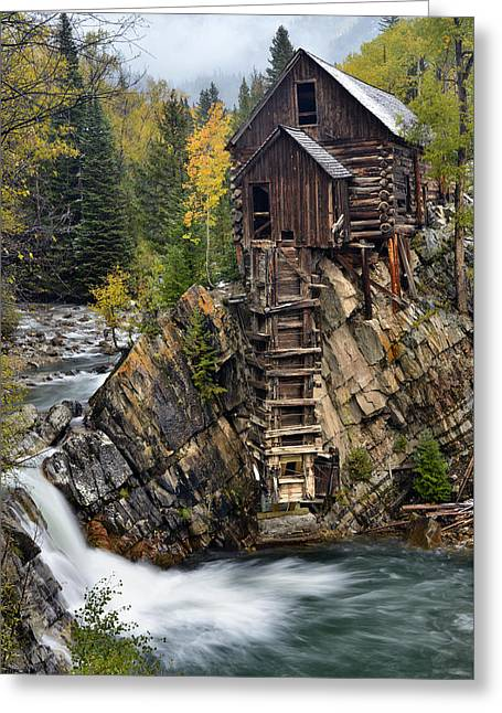 Mountain Road Greeting Cards - Crytal Mill and Crystal River Waterfall Greeting Card by Dean Hueber