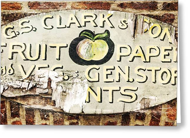 Grocery Store Greeting Cards - C.S. Clark vintage sign Greeting Card by Hal Halli