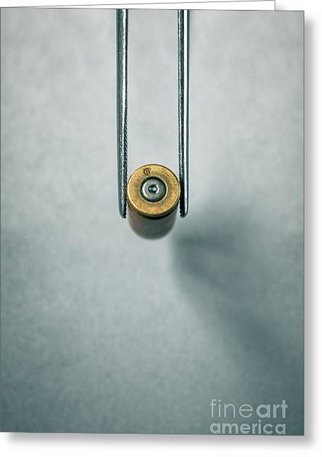 Csi Bullet Shell Evidence  Greeting Card by Carlos Caetano