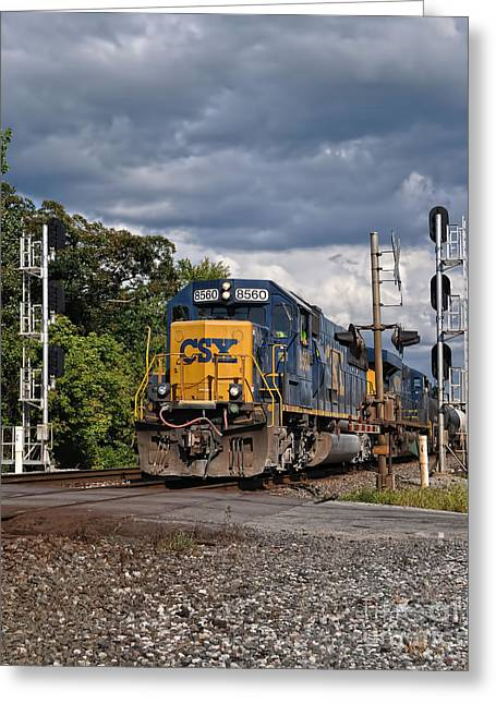 Train Crossing Greeting Cards - CSX Train Headed West Greeting Card by Pamela Baker