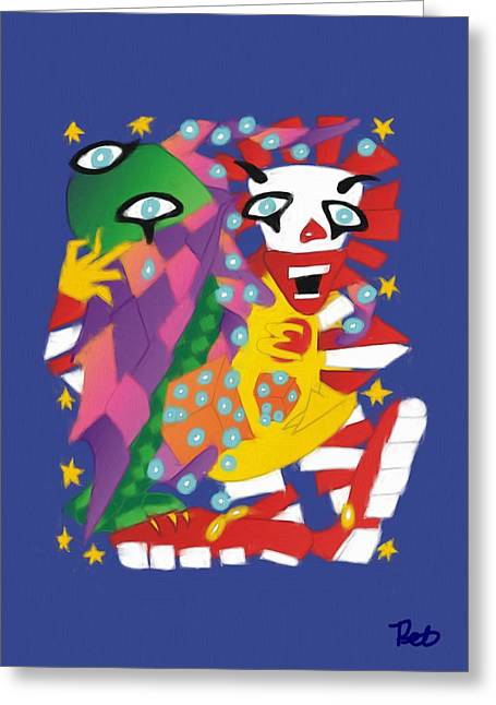 Scary Clown Greeting Cards - Cthulhu and Ronald MacDonald Playing Dice with the Universe Greeting Card by Pet Serrano