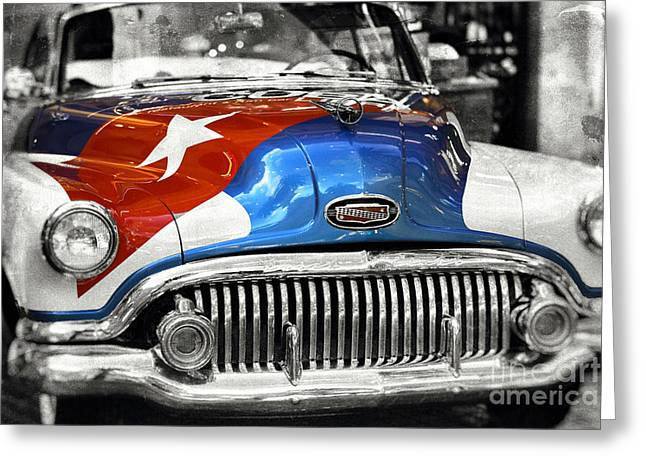 Cuban Artist Greeting Cards - Cuba Car Fusion Greeting Card by John Rizzuto