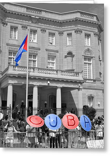 President Obama Greeting Cards - Cuba Umbrella Greeting Card by Jost Houk