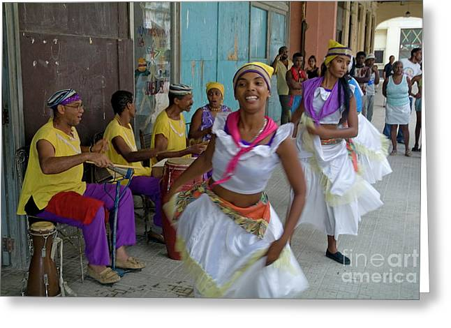 Playing Musical Instruments Greeting Cards - Cuban band Los 4 Vientos and dancers entertaining people in the street in Havana Greeting Card by Sami Sarkis