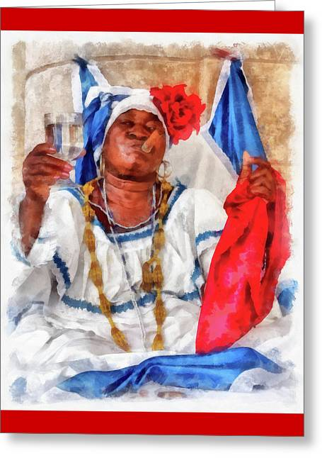 Character Portraits Greeting Cards - Cuban Character Greeting Card by Dawn Currie