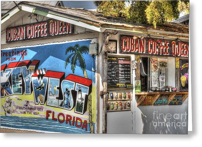 Cuban Coffee Queen Greeting Card by Juli Scalzi