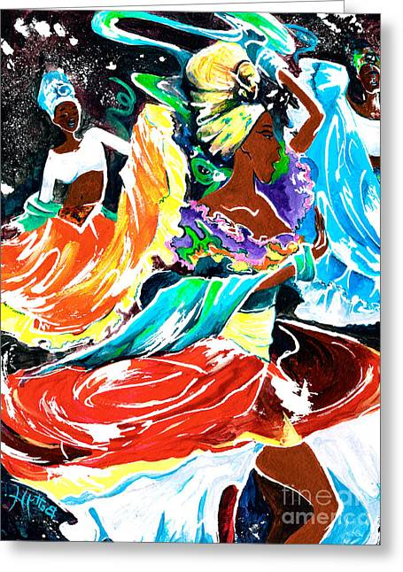 Cuban Dancers - Magical Rhythms... Greeting Card by Elisabeta Hermann