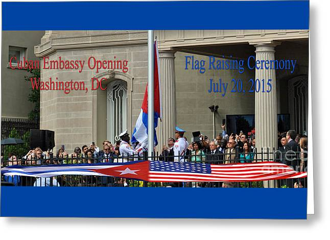 President Obama Greeting Cards - Cuban Embassy Opening Greeting Card by Jost Houk