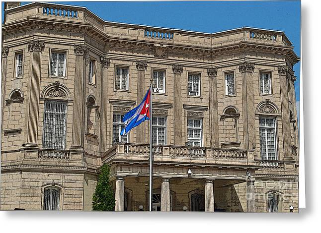 President Obama Greeting Cards - Cuban Embassy Today Greeting Card by Jost Houk