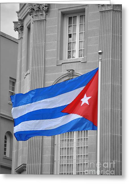 President Obama Greeting Cards - Cuban Flag Greeting Card by Jost Houk
