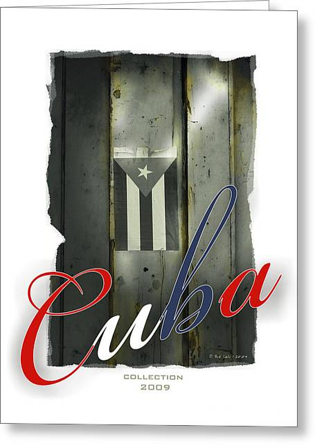 Habana Greeting Cards - Cuban Flag On Door Greeting Card by Bob Salo