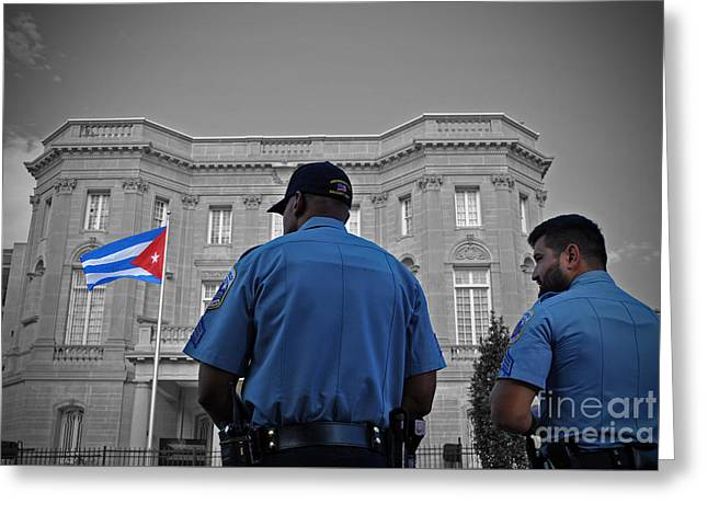 President Obama Greeting Cards - Cuban Protection Greeting Card by Jost Houk