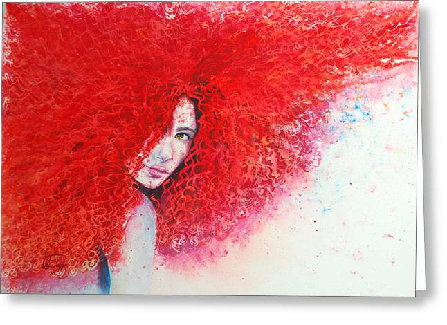 People Paintings Greeting Cards - Cubanasas Series Red Girl Greeting Card by Tatiana Flores