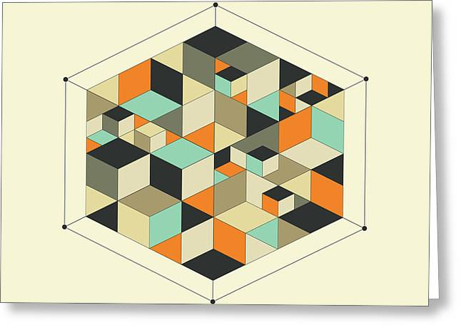 Geometric Art Greeting Cards - Cube 1 Greeting Card by Jazzberry Blue