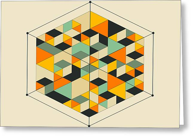 Geometric Art Greeting Cards - Cube 2 Greeting Card by Jazzberry Blue