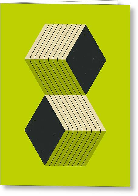Op-art Greeting Cards - Cube 8 Greeting Card by Jazzberry Blue