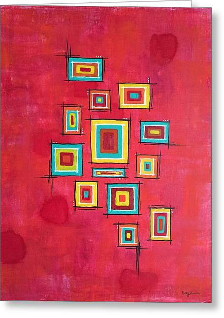Geometric Artwork Greeting Cards - Cubes 1 Greeting Card by Brittany Houchin