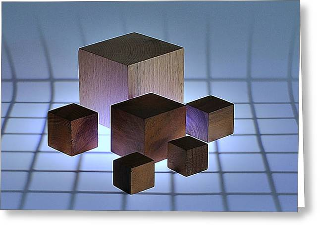 Woods Greeting Cards - Cubes Greeting Card by Mark Fuller