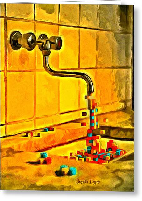 Cubic Water Greeting Card by Leonardo Digenio