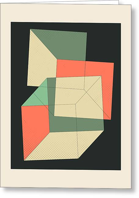 Geometric Art Greeting Cards - Cubes #4 Greeting Card by Jazzberry Blue