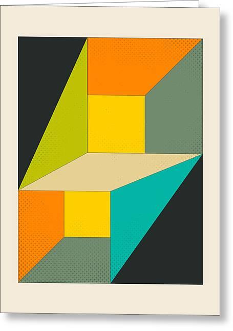 Geometric Art Greeting Cards - Deja Vu Greeting Card by Jazzberry Blue