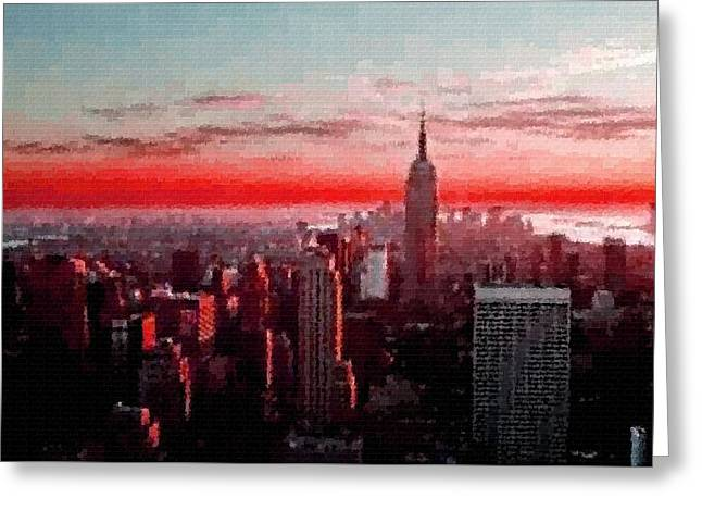 Abstract Digital Pastels Greeting Cards - Cubist City Skyline Creations - Catus 1 no. 2 H B Greeting Card by Gert J Rheeders