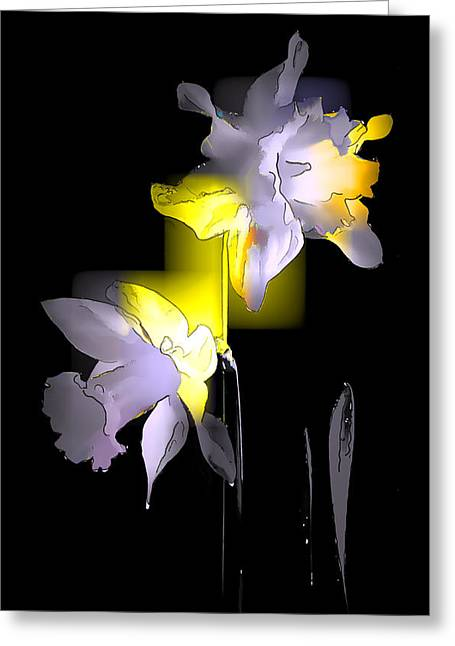 Ghostly Greeting Cards - Cubist Daffodils Greeting Card by Jon Delorme