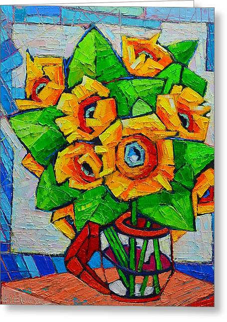 Recently Sold -  - Green And Yellow Abstract Greeting Cards - Cubist Sunflowers - Original Oil Painting Greeting Card by Ana Maria Edulescu