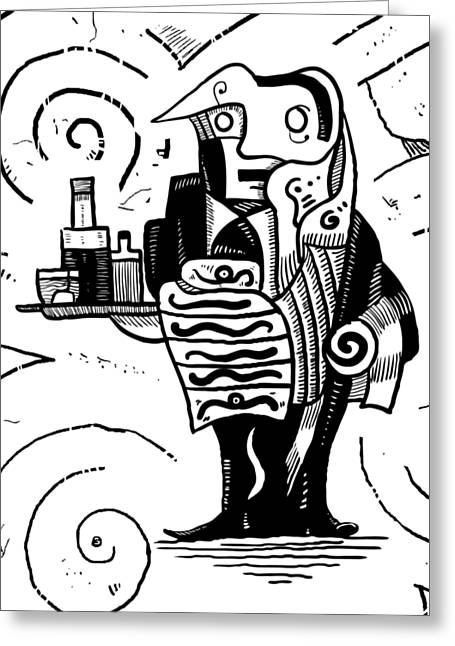 Cubist Waiter Greeting Card by Sotuland Art