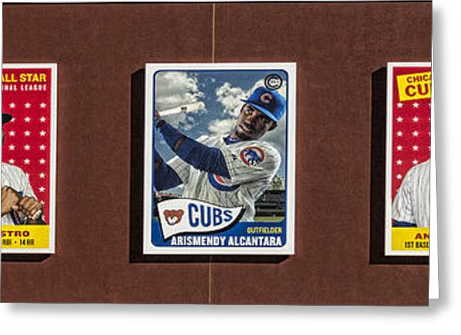 Baseball Photographs Greeting Cards - Cubs Card Collection Greeting Card by Stephen Stookey