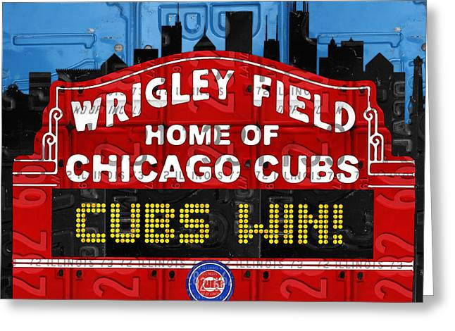 Wrigley Field Greeting Cards - Cubs Win Wrigley Field Chicago Illinois recycled Vintage License Plate Baseball Team Art Greeting Card by Design Turnpike