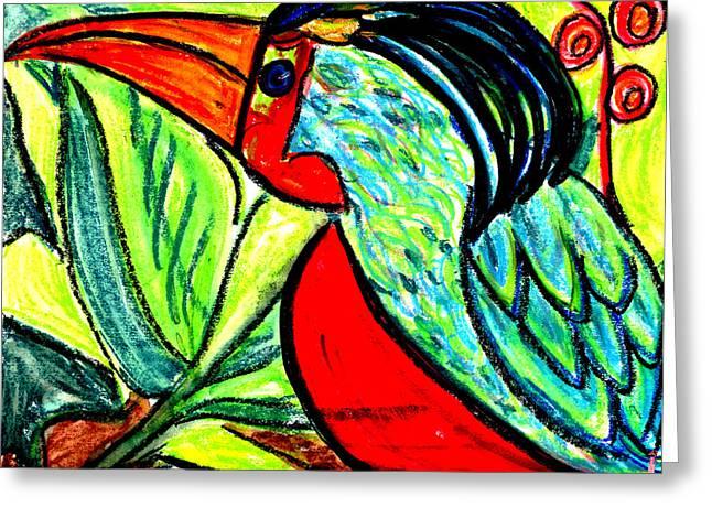 Vibrant Green Pastels Greeting Cards - Cuchu Cachu Greeting Card by Linda Hubbard Red Cap Art