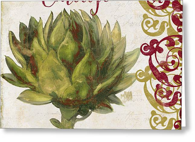 Food Art Paintings Greeting Cards - Cucina Italiana Artichoke Greeting Card by Mindy Sommers