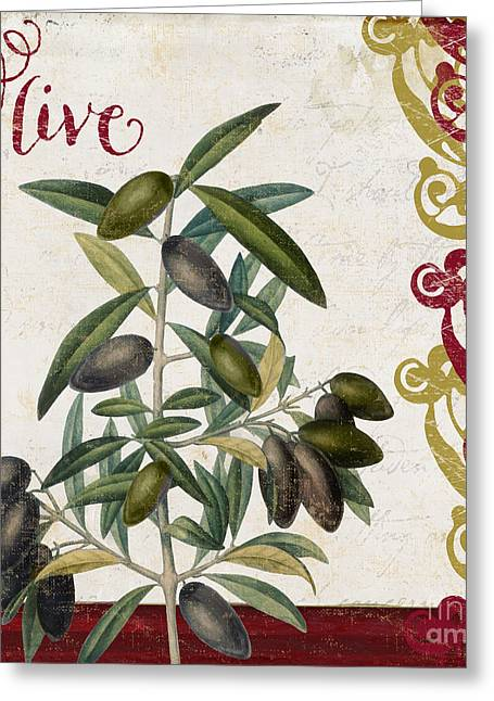 Food Art Paintings Greeting Cards - Cucina Italiana Olives Greeting Card by Mindy Sommers