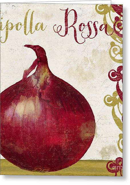 Food Art Paintings Greeting Cards - Cucina Italiana Onion Greeting Card by Mindy Sommers