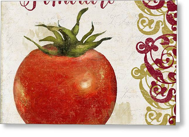Food Art Paintings Greeting Cards - Cucina Italiana Tomato Pomodoro Greeting Card by Mindy Sommers