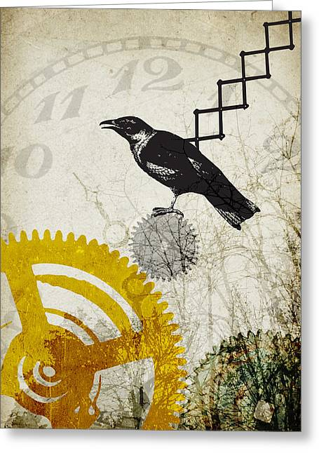 Tinkered Mixed Media Greeting Cards - Cuckoo Clock Greeting Card by Kendra Shedenhelm