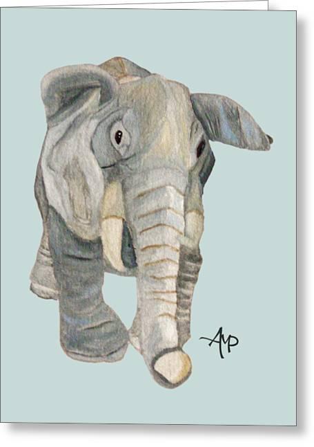 Cuddly Elephant Greeting Card by Angeles M Pomata