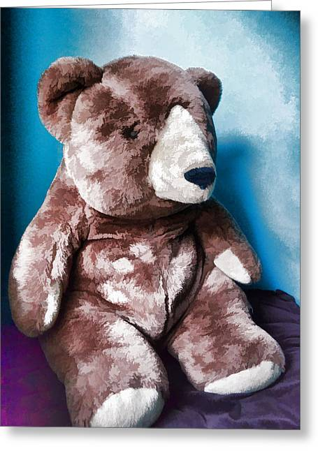 Portraits Tapestries - Textiles Greeting Cards - Cuddly Teddy...stuffed Animal Greeting Card by Tom Druin