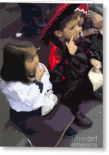Christmas Eve Greeting Cards - Cuenca Kids 658 Greeting Card by Al Bourassa