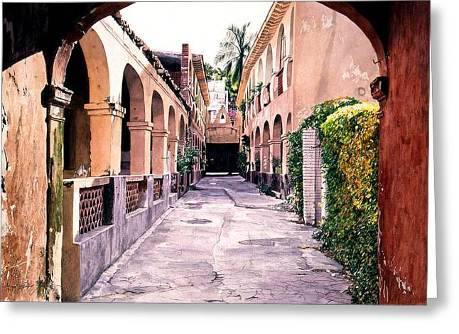 Colonial Building Greeting Cards - Cuernevaca Afternoon Greeting Card by David Lloyd Glover