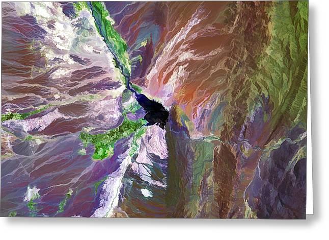Cuesta Del Viento Reservoir Argentina Greeting Card by Elaine Plesser