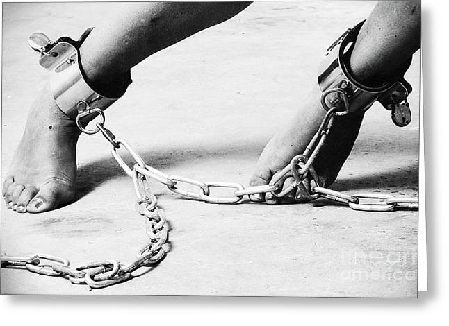 Dungeons Greeting Cards - Cuffed Feet Greeting Card by William Langeveld