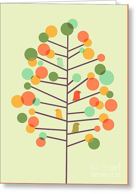 Colorful Trees Digital Greeting Cards - Happy Tree - Tweet Tweet Greeting Card by Budi Kwan