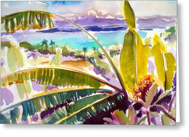 Culebra And Bananas Greeting Card by Barbara Richert