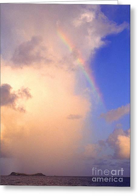 Culebra Greeting Cards - Culebra Rain Cloud and Rainbow Greeting Card by Thomas R Fletcher