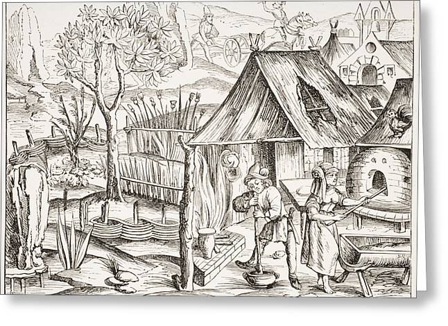 Wood Grain Drawings Greeting Cards - Cultivation Of Grain By Peasants And Greeting Card by Ken Welsh
