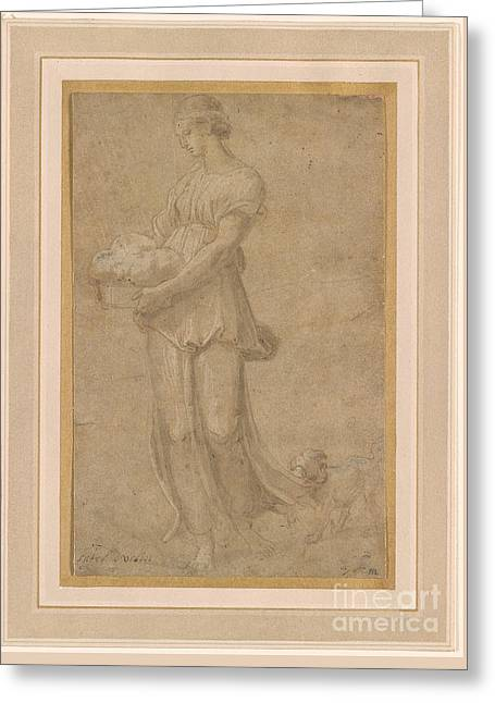 Cumaean Sibyl With A Dog Greeting Card by Celestial Images