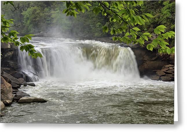 Cumberland River Greeting Cards - Cumberland Falls Close-up Greeting Card by Sandy Keeton