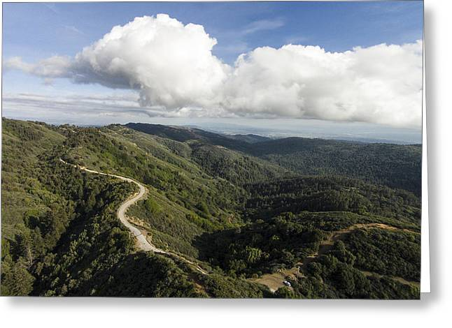 Santa Cruz Surfing Greeting Cards - Cumulus Clouds Forming Over Summit Road Greeting Card by David Levy